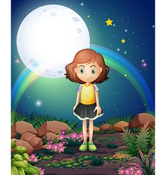 A girl standing outdoor under the bright fullmoon vector image vector image