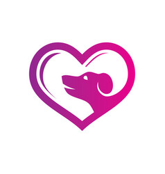 abstract pet shop love logo vector image