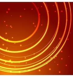 Gold glowing circle frame with sparkles vector image vector image