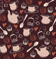 Seamless sweet tea pattern vector image