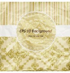 vintage pattern golden napkin on floral and stripe vector image vector image