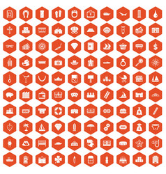 100 wealth icons hexagon orange vector