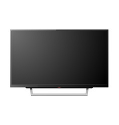 3d realistic black blank tv screenon stand vector image