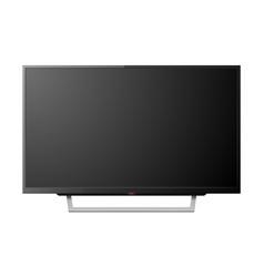 3d realistic black blank tv screenon stand vector