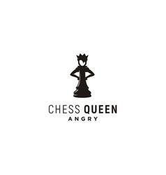 Angry queen chess logo design vector