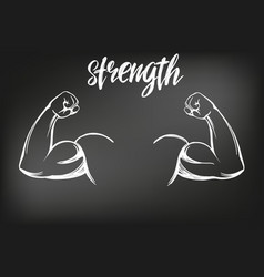 Arm bicep strong hand icon cartoon calligraphic vector