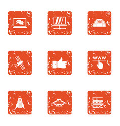 artificial satellite icons set grunge style vector image