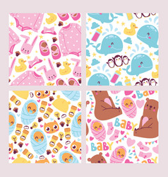 Bashower seamless pattern set cute kids vector