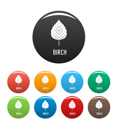 birch leaf icons set color vector image