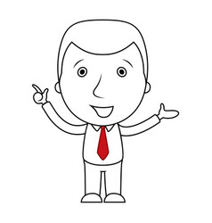 businessman line cartoon pointing his finger up vector image