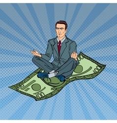 Businessman meditating on hundred dollar bill vector