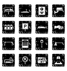Car parking set icons grunge style vector
