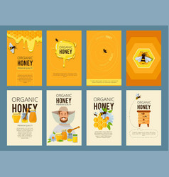 Cards with of apiary vector