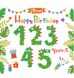 cartoon funny numbers dinosaurs vector image