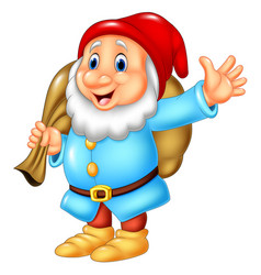 cartoon happy dwarf carrying sack vector image
