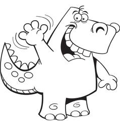 Cartoon Waving Dinosaur vector image