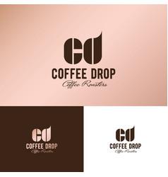 cd monogram logo coffee drop vector image