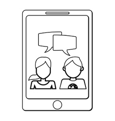 Cellphone with man and woman vector