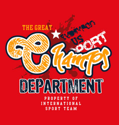 champs t shirt graphic vector image