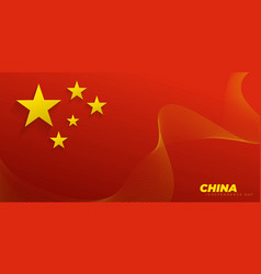 China flag with floating stars and abstract vector