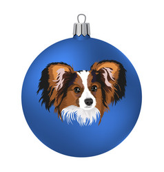 Christmas ball with of the dog vector