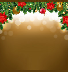 christmas border with poinsettia and fir tree vector image