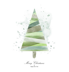 christmas tree design with green watercolor vector image