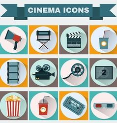Cinema colorful icon set vector
