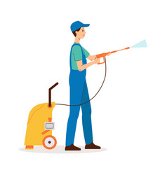Cleaning worker does disinfection or wet clean vector