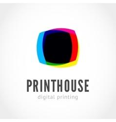 Cmyk ink splashes logo vector