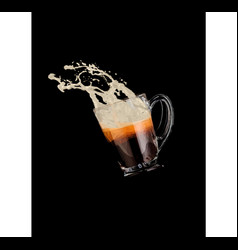 coffee with splashing milk foam vector image