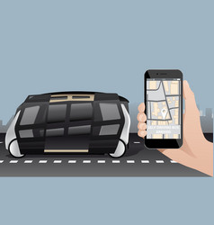 control of self driving bus by mobile app vector image