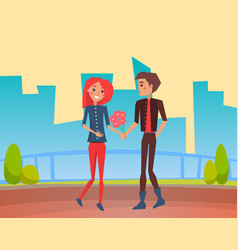 couple in love on date walking with flowers vector image