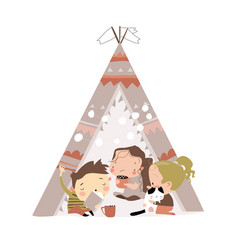 Cute little children play in a tent teepee vector