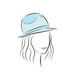 Cute young girl in little blue hat vector