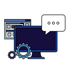 Desktop computer with gears and speech bubble vector
