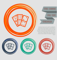 domino icon on the red blue green orange buttons vector image
