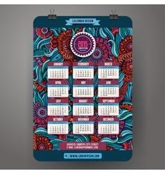 Doodles cartoon floral Calendar 2015 year design vector image