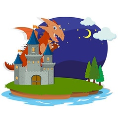 Dragon and castle at night vector image