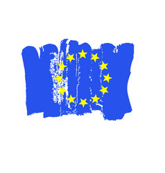 European flag painted by brush hand paints art eu vector