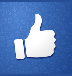 Facebook concept hand shows thumb up icon vector