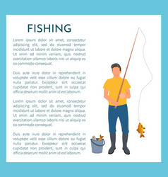Fisherman with fishing rod and fish icon vector