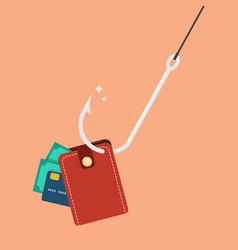 fishhook with wallet vector image