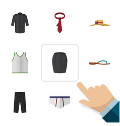Flat garment set of uniform cravat singlet and vector