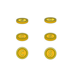 flat golden dollar cent coins set vector image