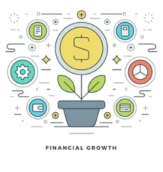 Flat line Business Concept Financial Growth vector
