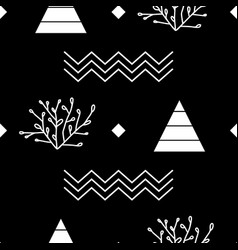 floral and geometric line art elements on black vector image