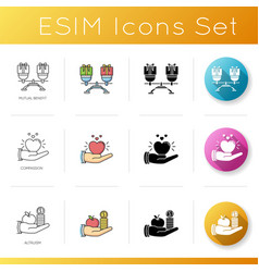 Friendly support icons set linear black and rgb vector