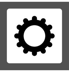 Gear flat black and white colors rounded button vector