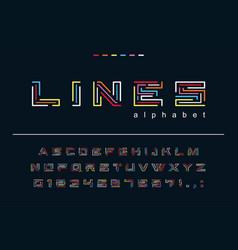 geometric color lines font technology puzzle vector image